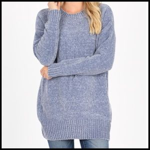 Oversized chenille sweater frost blue M, L, XL
